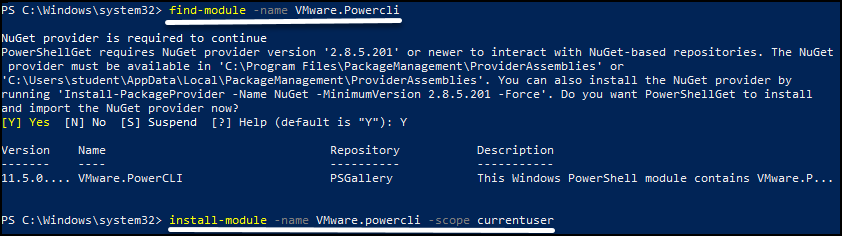 Install PowerCLI on your management system