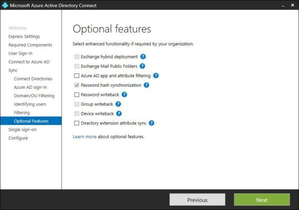 Specify optional features