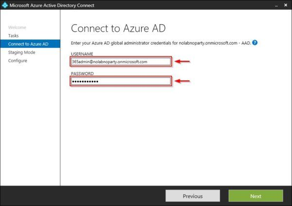 Azure AD administrator credentials