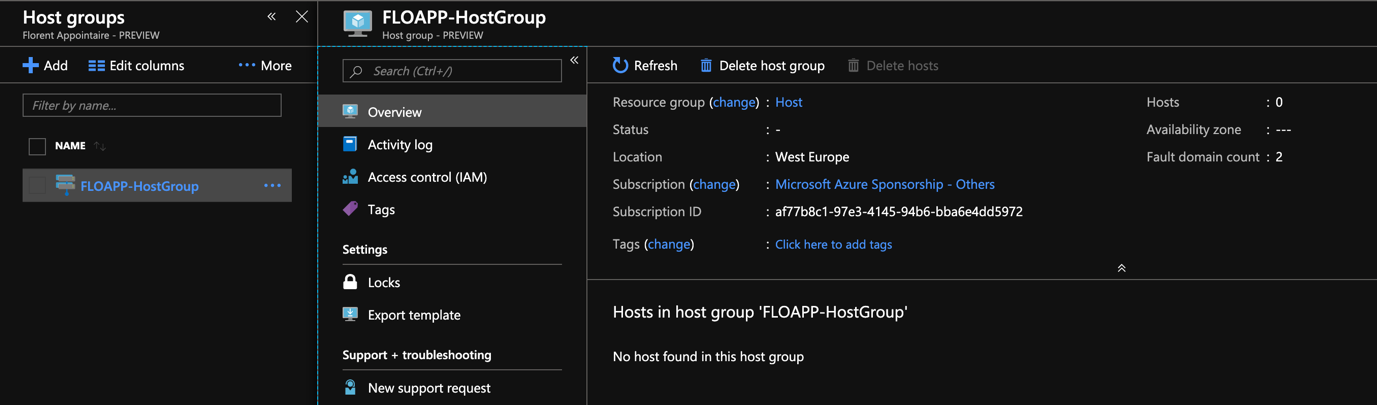 The Host group is created.