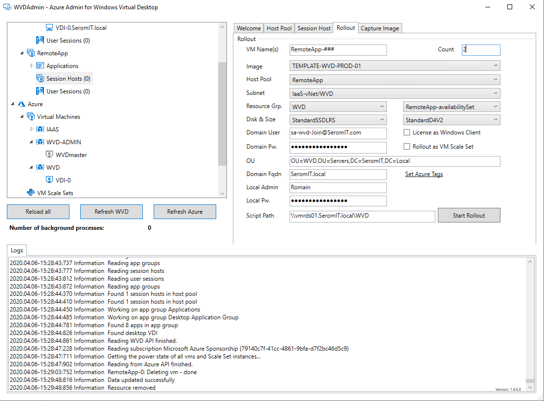 VMs and the Active Directory information