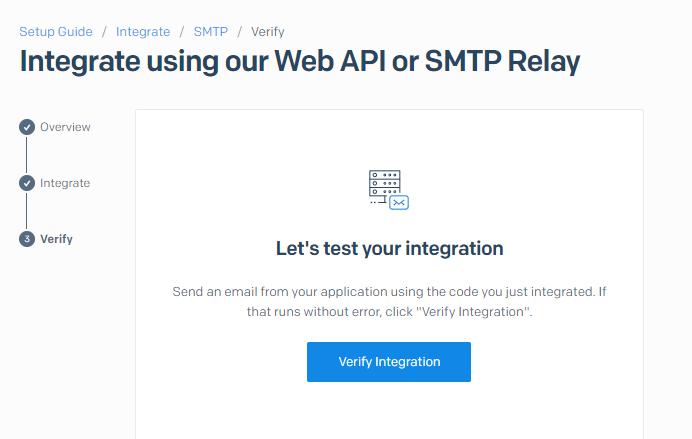 Finalize the verification process for the API key in SendGrid
