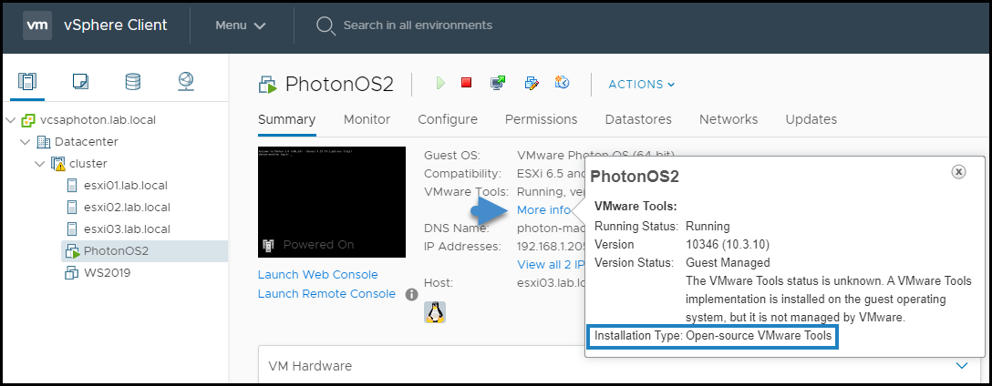 Open VM Tools Installed on Photon OS Linux Virtual Machine