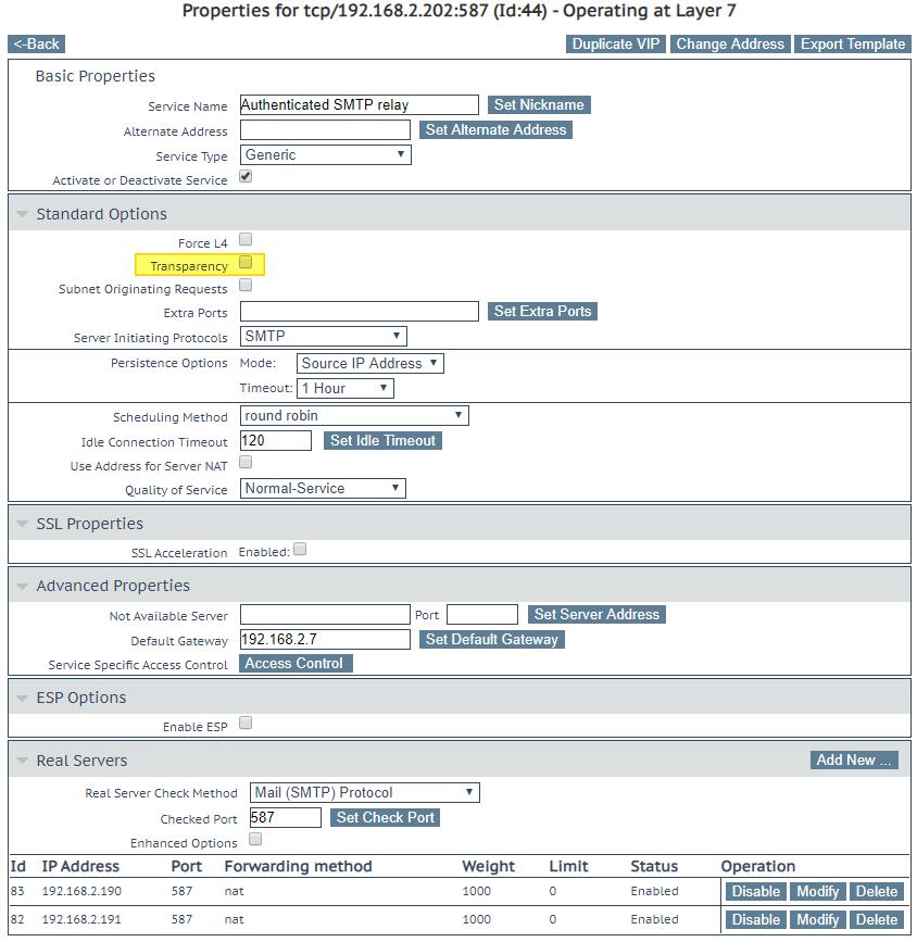 LoadMaster virtual services for load balancing