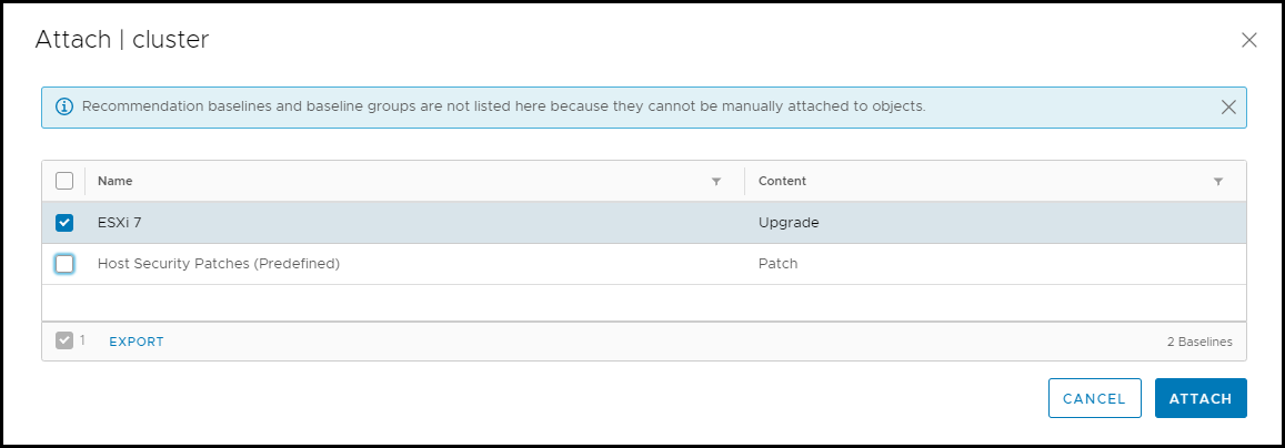 Select the created ESXi 7 baseline and click attach