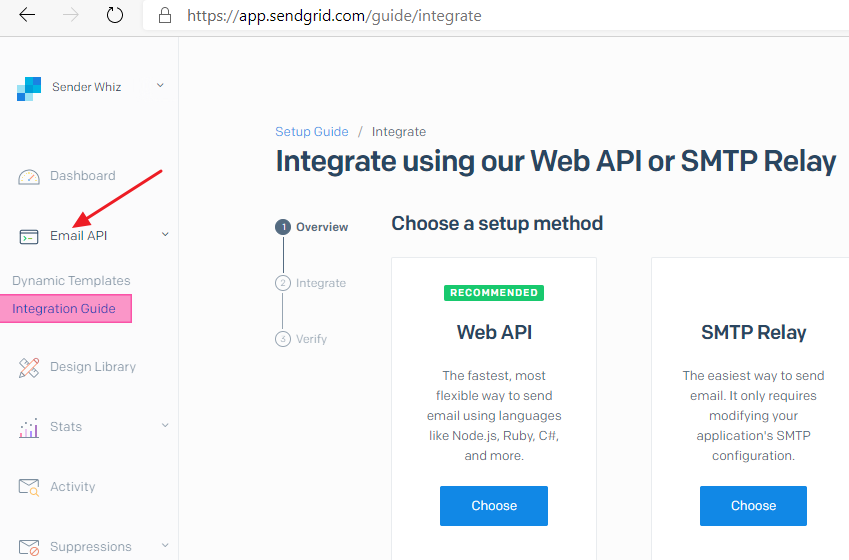Creating the SendGrid SMTP API keys