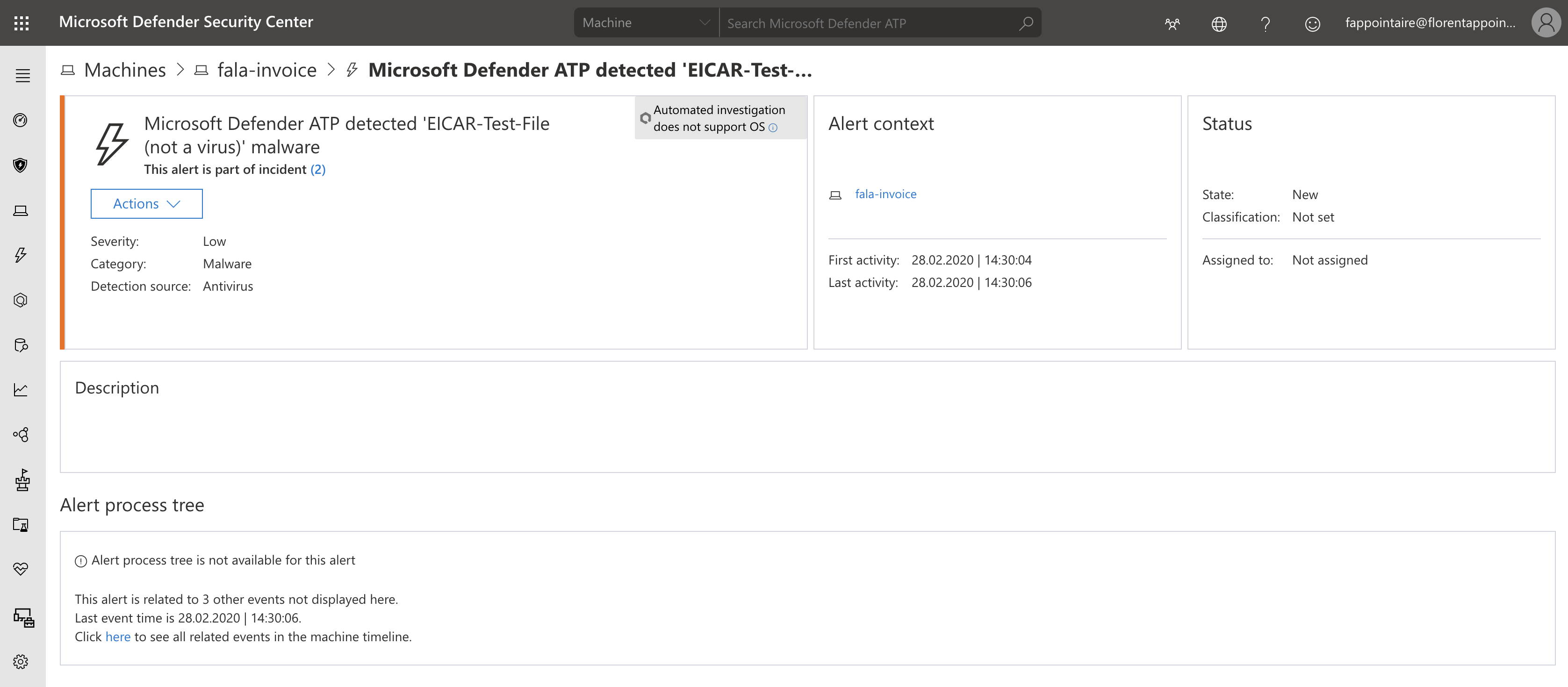 Microsoft Defender ATP detected