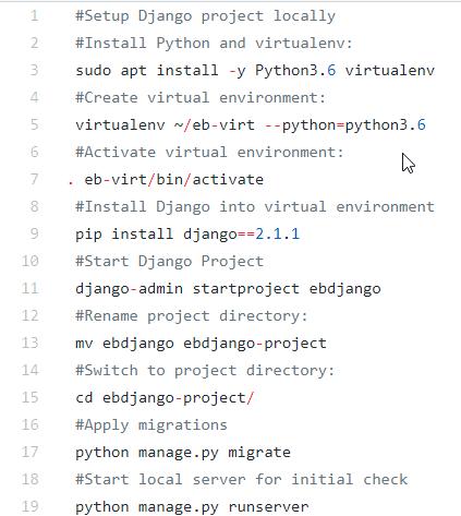 Recap - Commands for setting up Django project on Ubuntu workstation