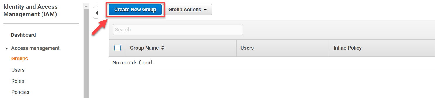 AWS IAM Console – Create New Group