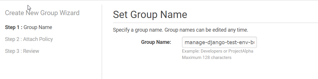 AWS IAM Console Create New Group Wizard – Setting Group Name