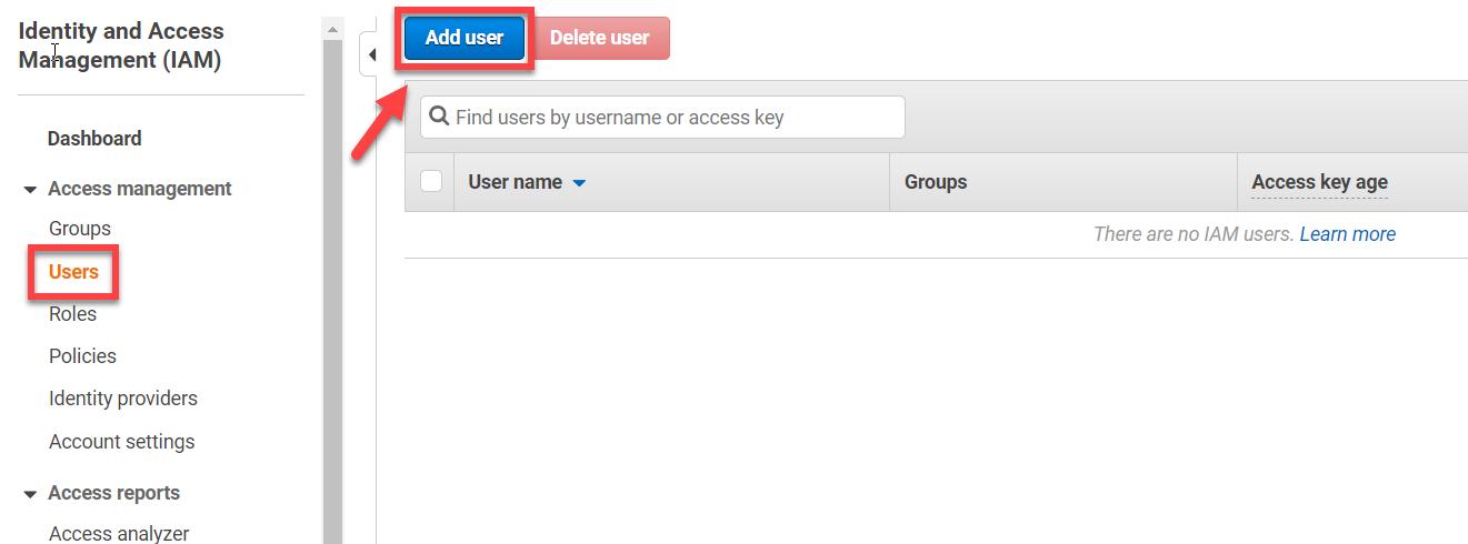AWS IAM Console – Adding User