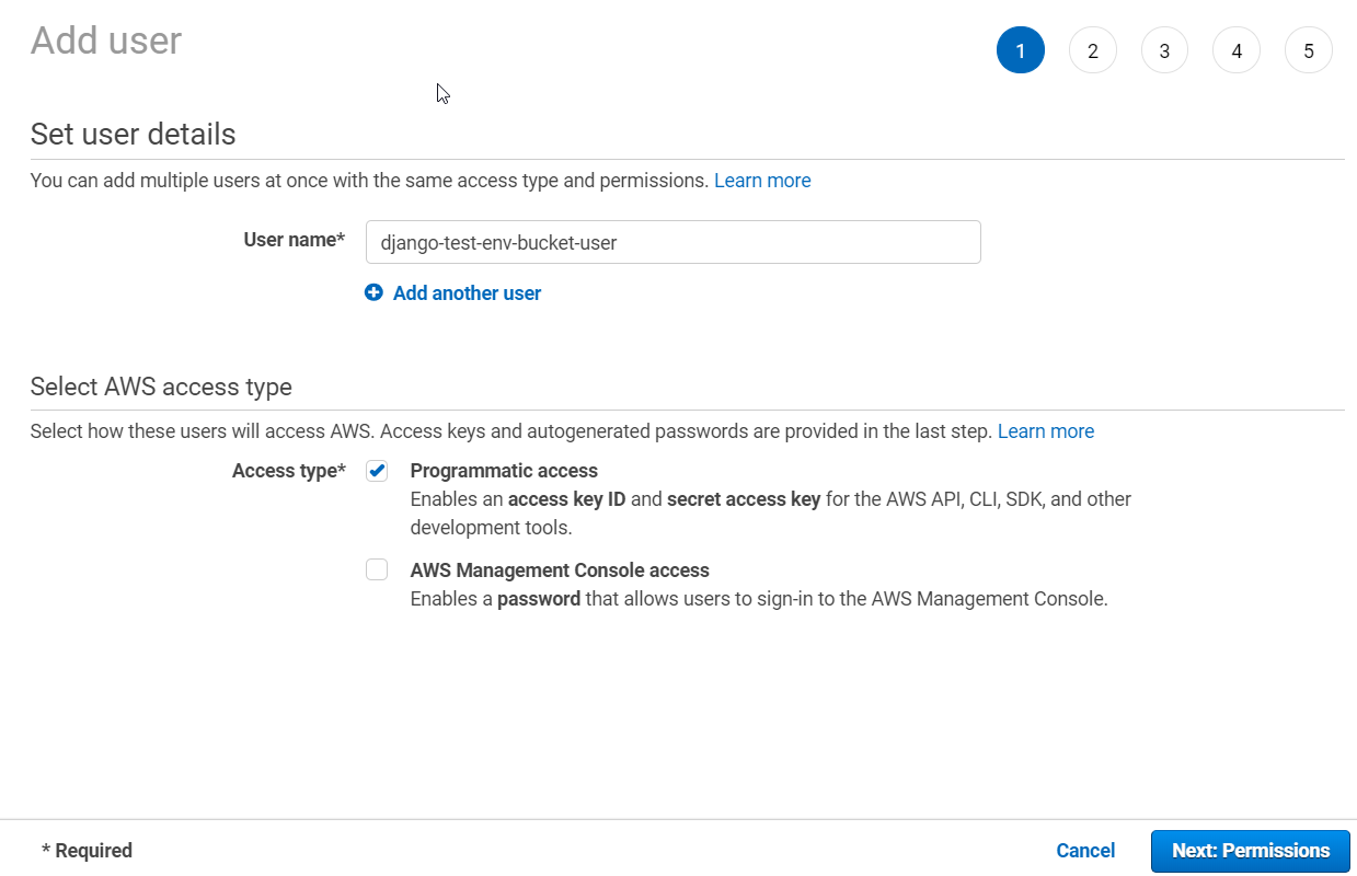 AWS IAM Console – Add User Wizard Page 1