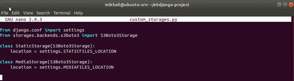 Content of custom_storages.py file