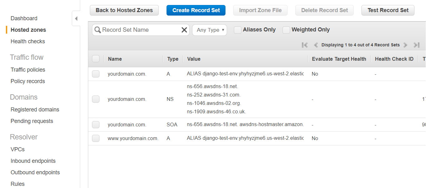 AWS Route 53 Console – Domain hosted zone record sets added