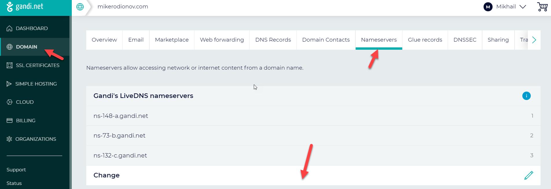 gandi.net DNS hosting – Changing Nameservers