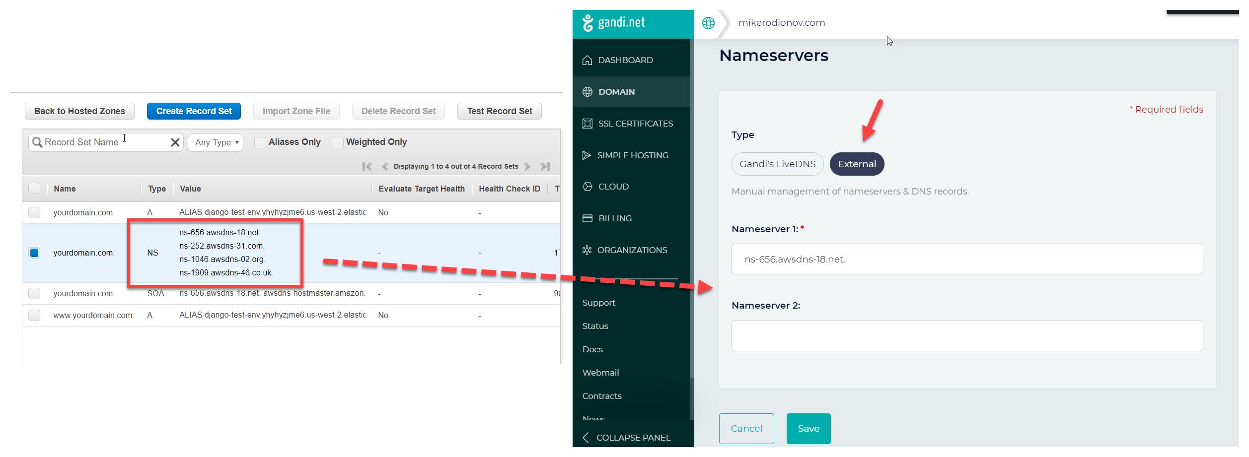 Adding AWS nameservers as external nameservers for domain hosted with gandi.net