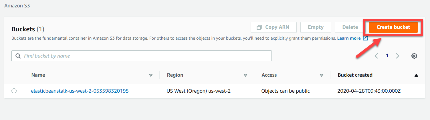 AWS S3 Console – Create Bucket