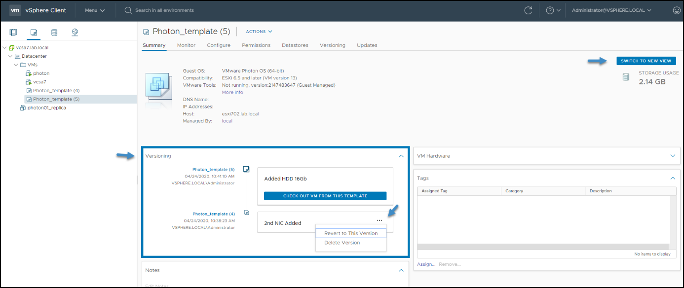 Versioning from the main dashboard