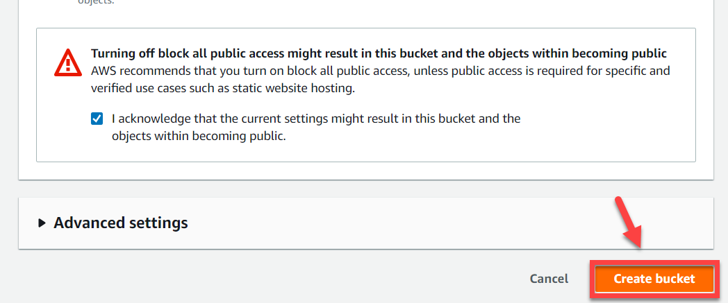 AWS S3 Console – Completing Create Bucket Wizard