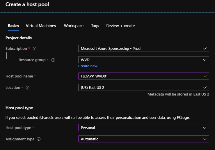 Create host pool