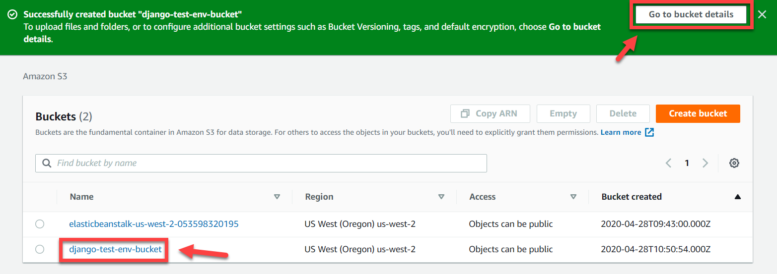 AWS S3 Console – Accessing Bucket Details