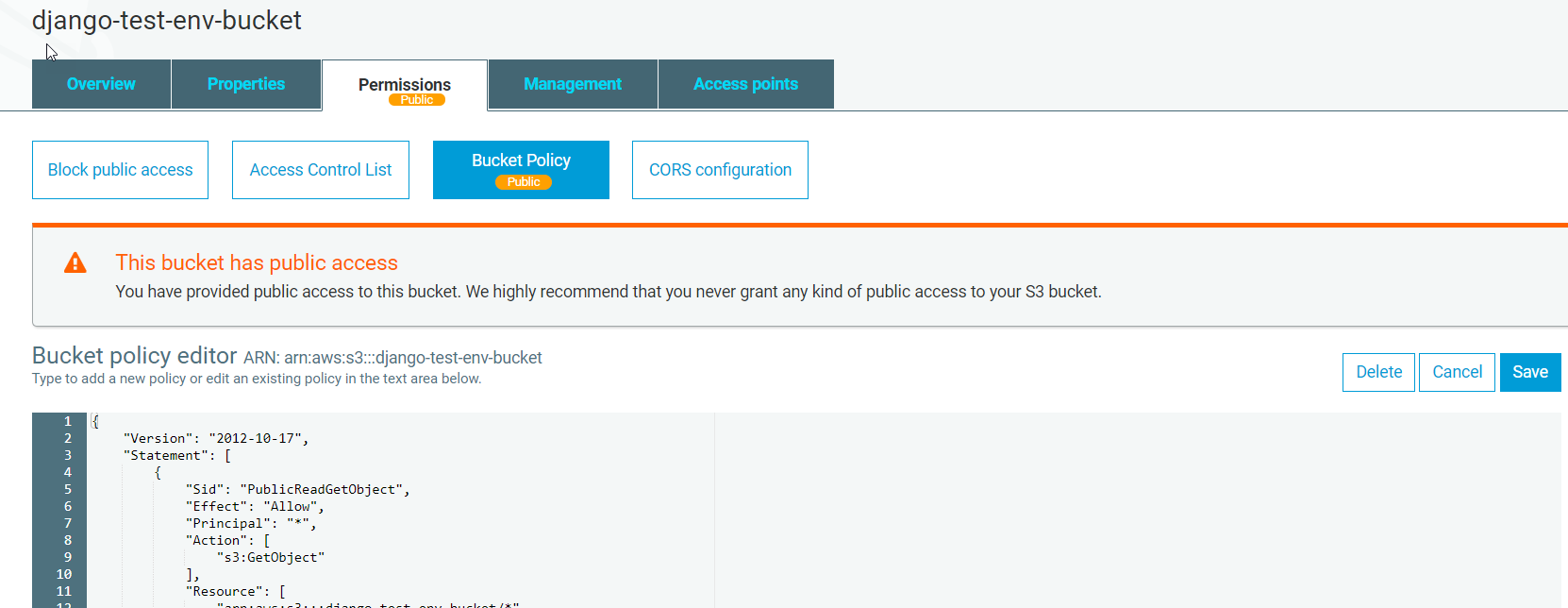 AWS S3 Console – Public Access Bucket Policy applied