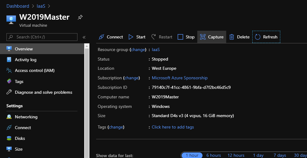 Azure Portal and open VM overview