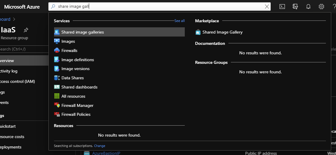 Search bar in Azure Portal