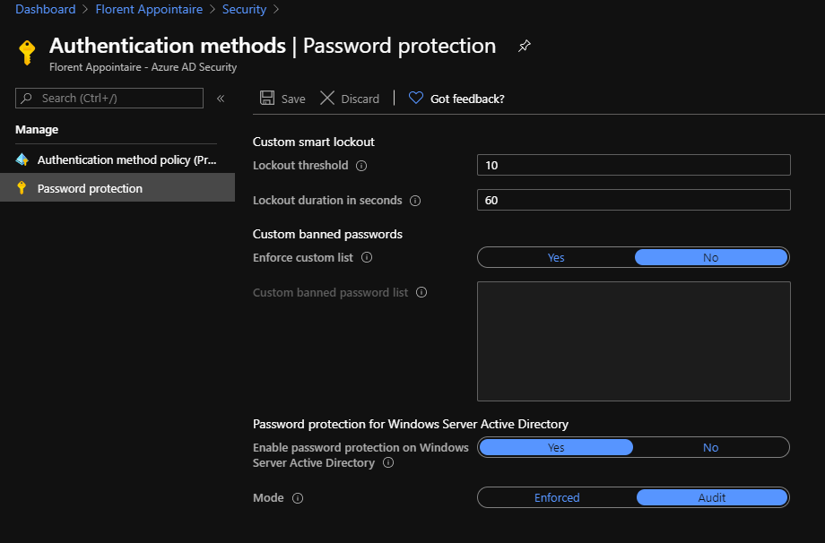 Activate the On-Premises Password protection
