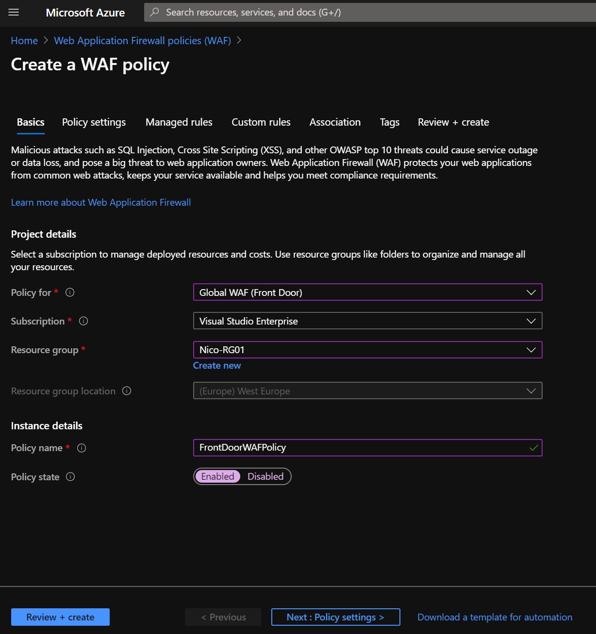 Add Web Application Firewall Policy