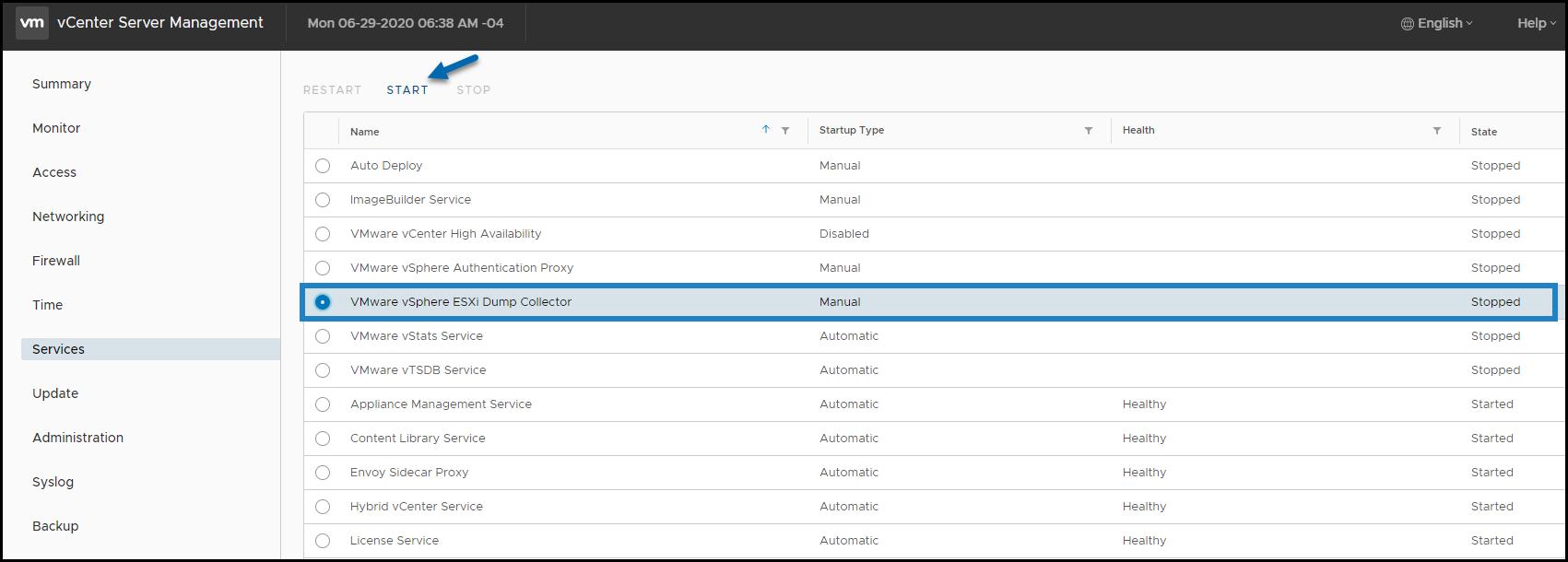 VMware ESXi Dump Collector - Start the service