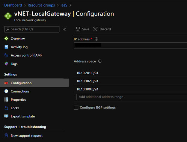 vNET-LocalGateway Configuration