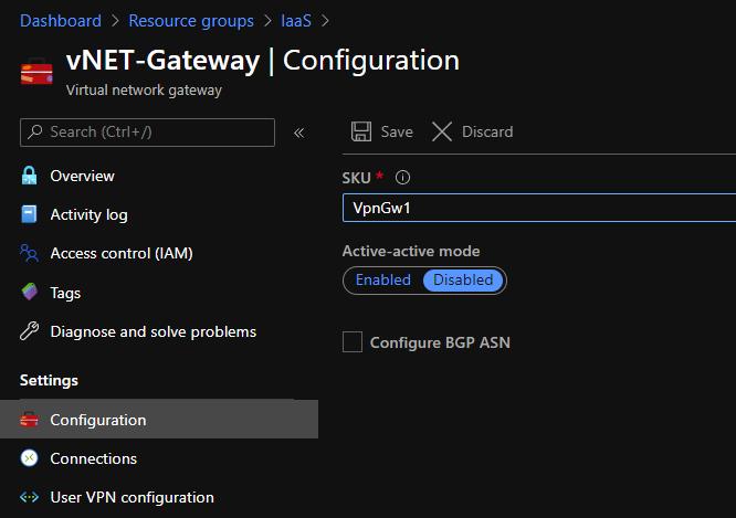 Configure the virtual network gateway