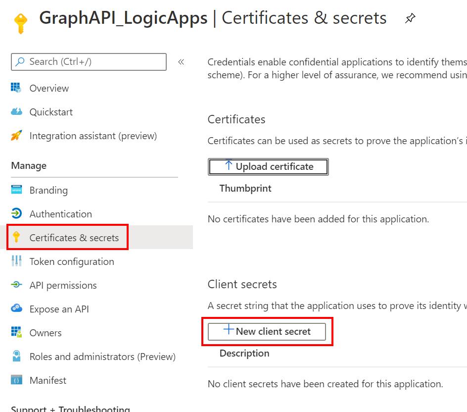 Certificates & secrets