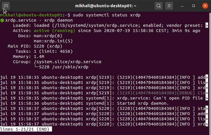 Checking XRDP server status