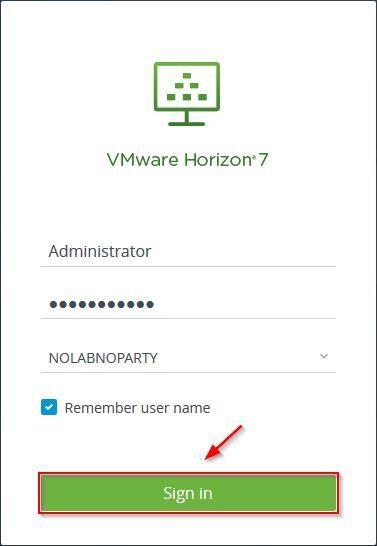 Sign in VMware Horizon 7