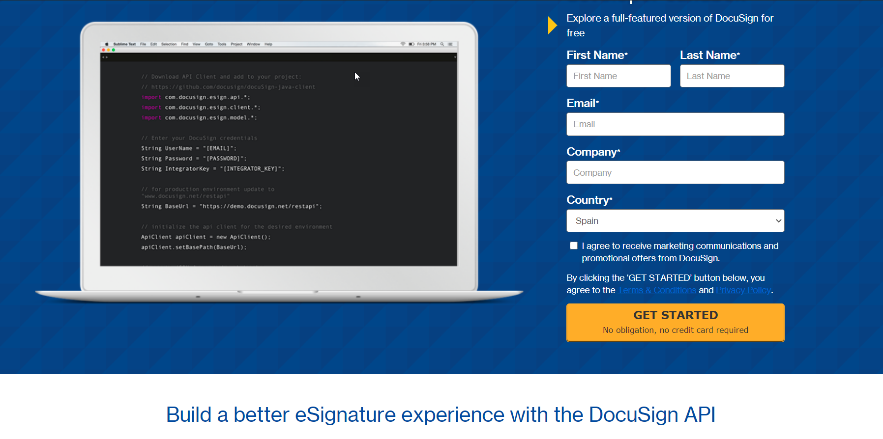 DocuSign Product Shot Page Get Started Form