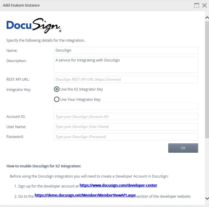 K2 Management - Add Feature Instance Dialog