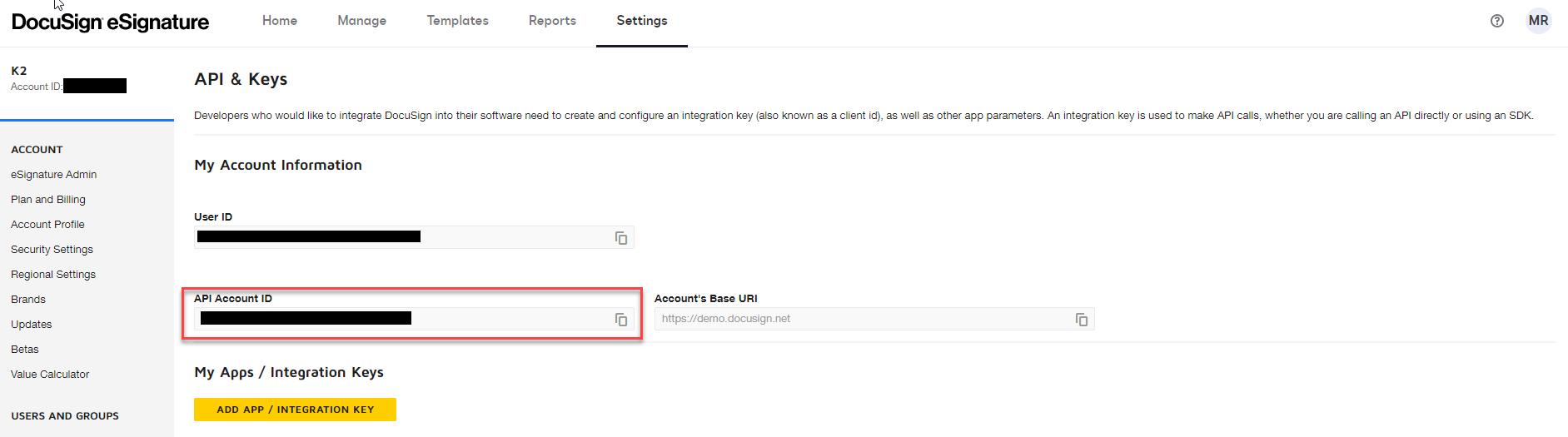 DocuSign Admin Site – API & Keys – API Account ID