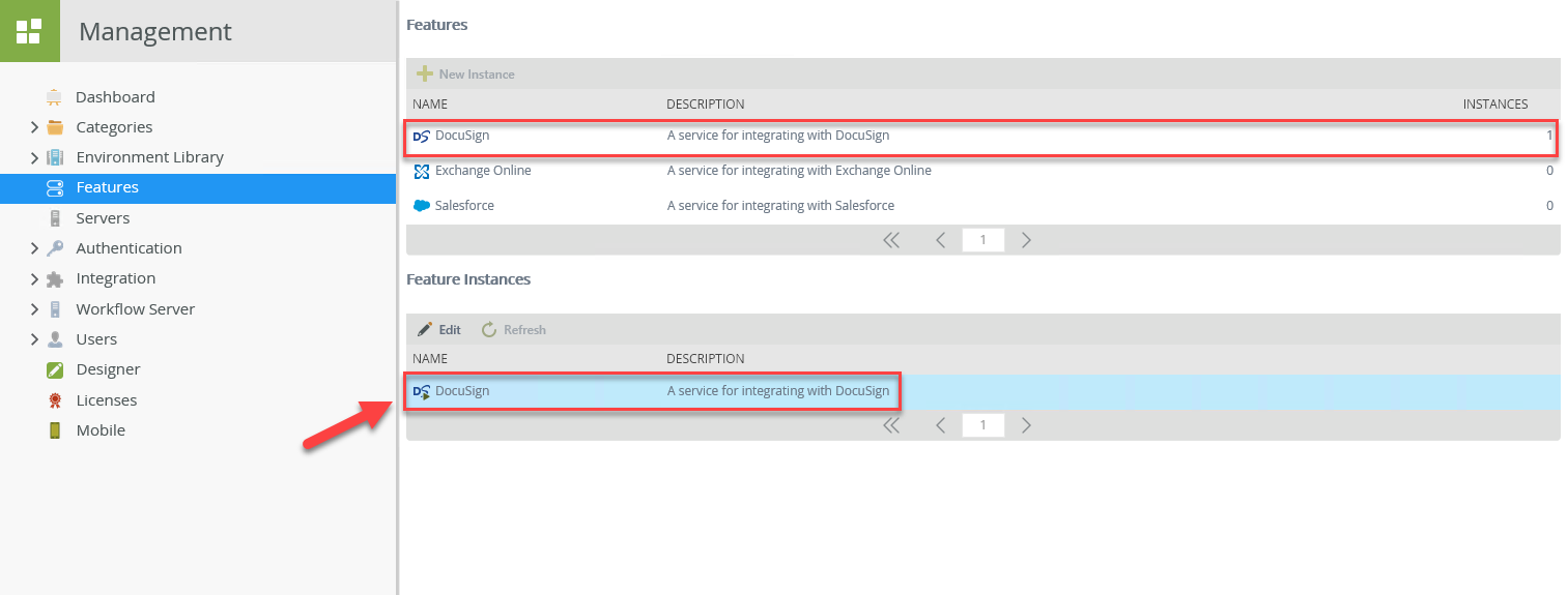 K2 Management – DocuSign Feature Instance Added