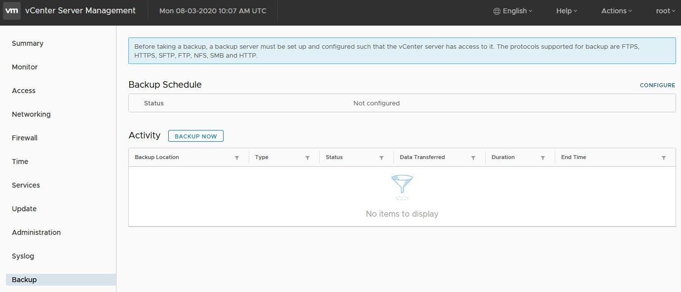 Create a VCSA file-level backup