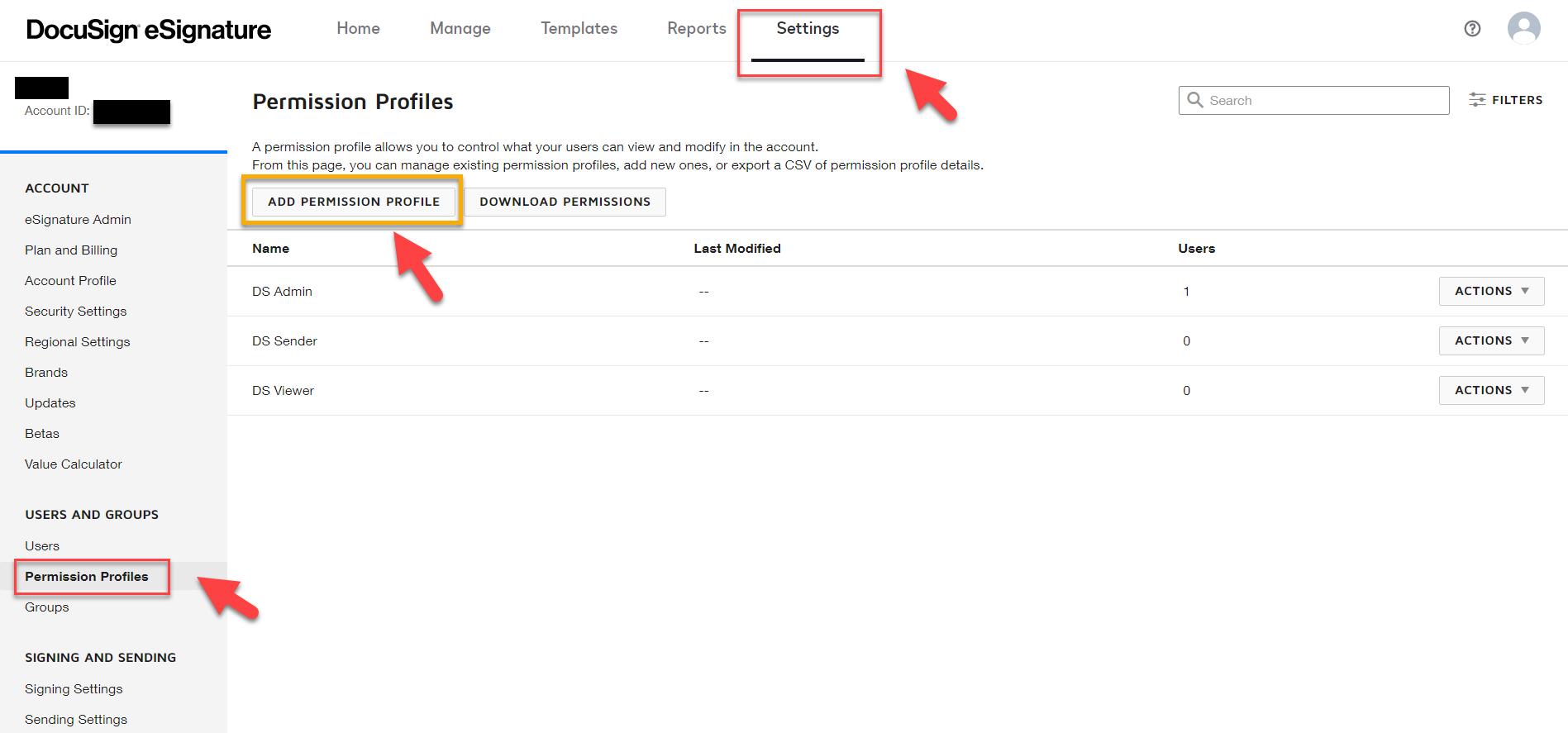 DocuSign Admin Site – Add Permission Profile