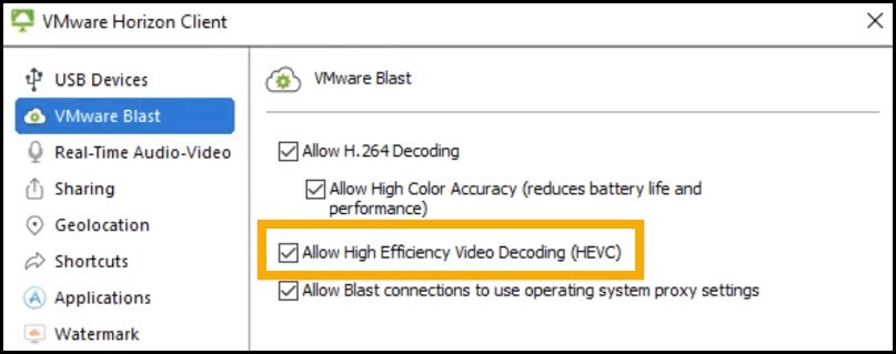 VMware Blast Extreme and HEVC