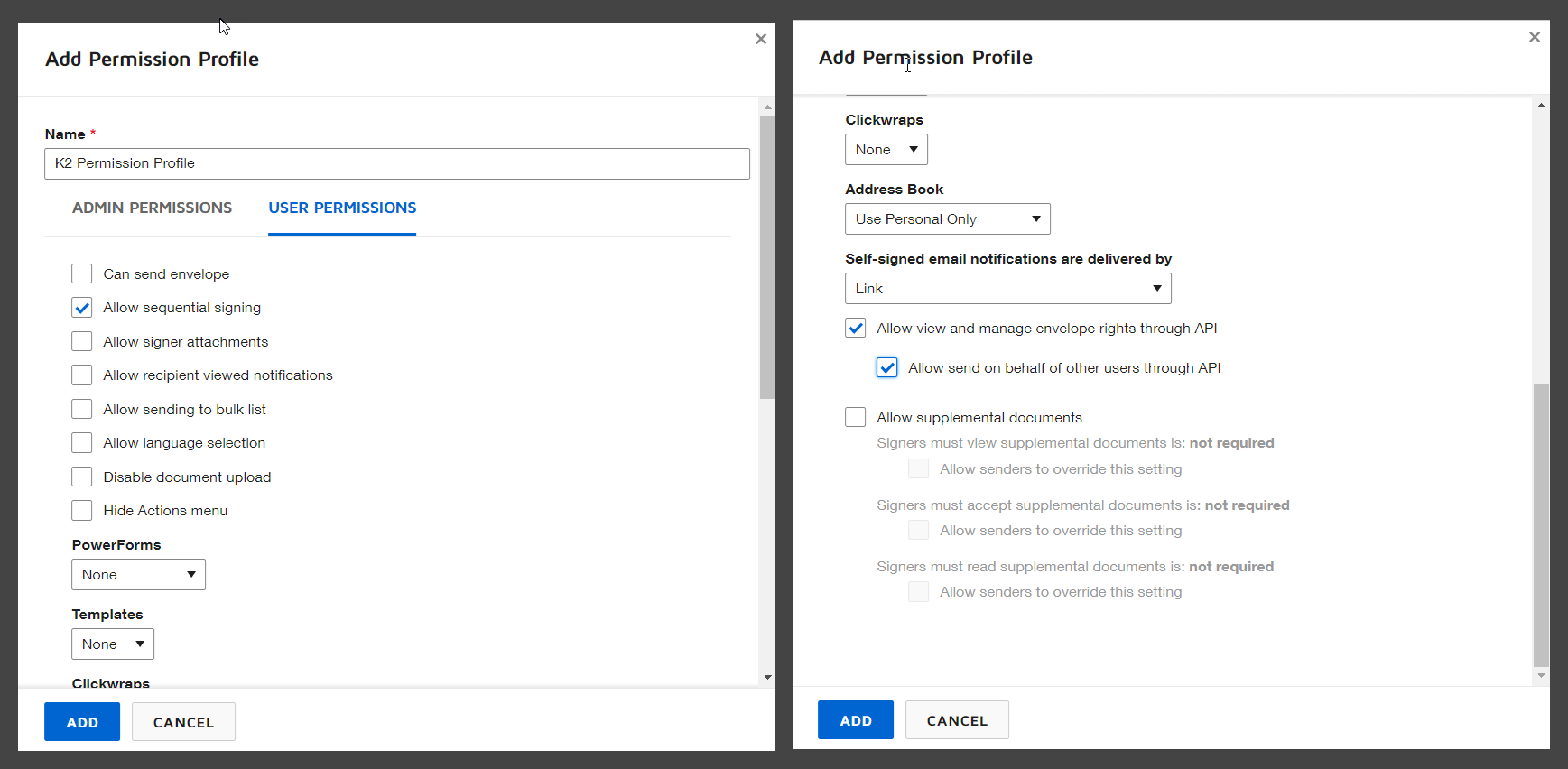 Add Permission Profile – Permissions Required for K2 Integration