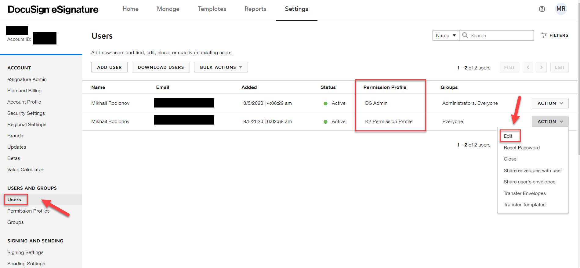 DocuSign Admin Site – Edit User