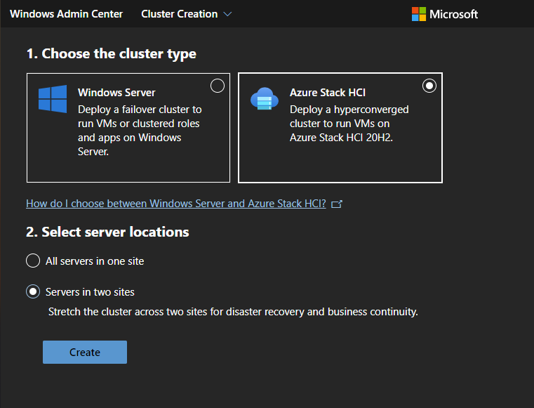 Azure Stack HCI as cluster type