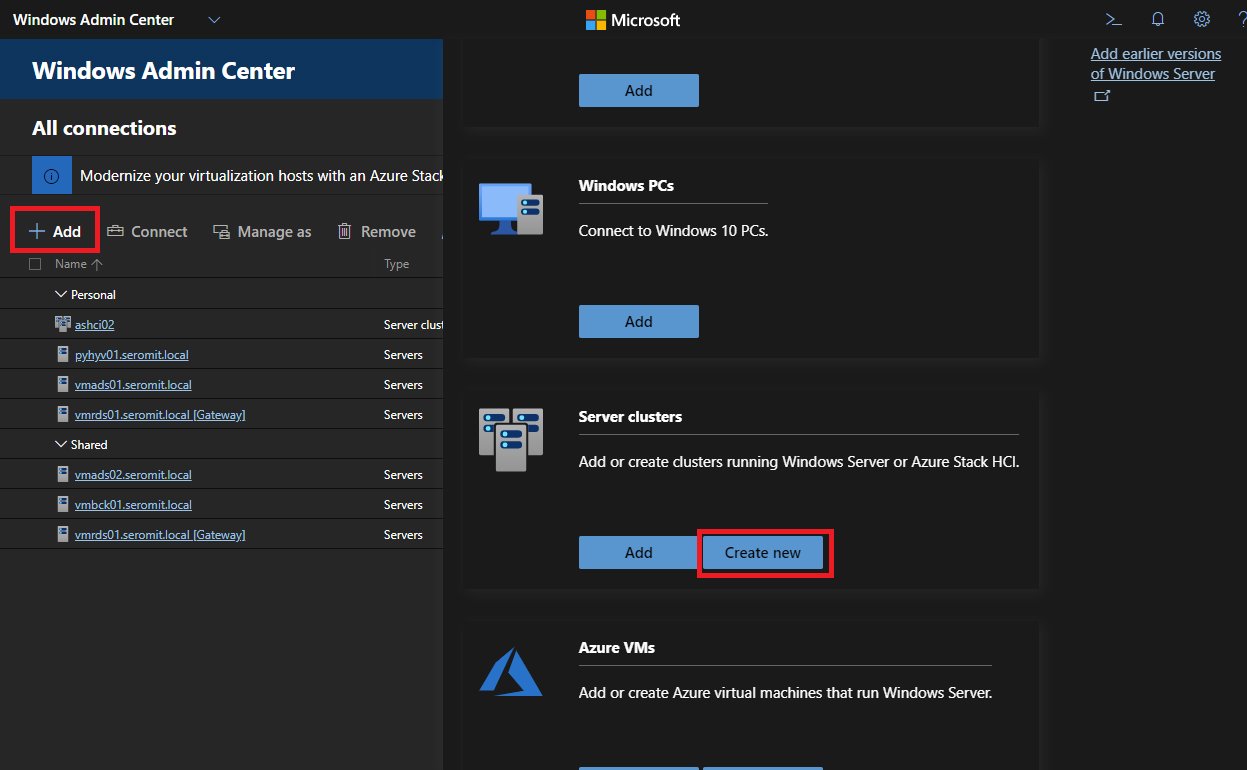 Open Windows Admin Center