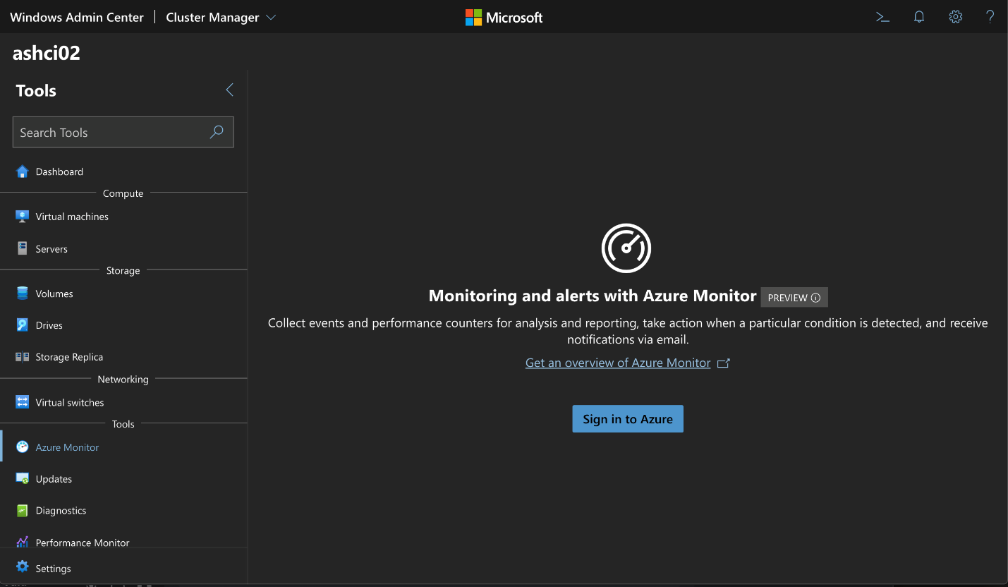 Select an Azure Stack HCI and navigate to Azure Monitor