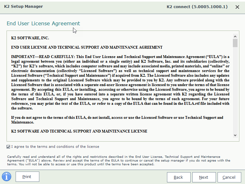 K2 Connect 5.2 Setup Wizard – License Agreement