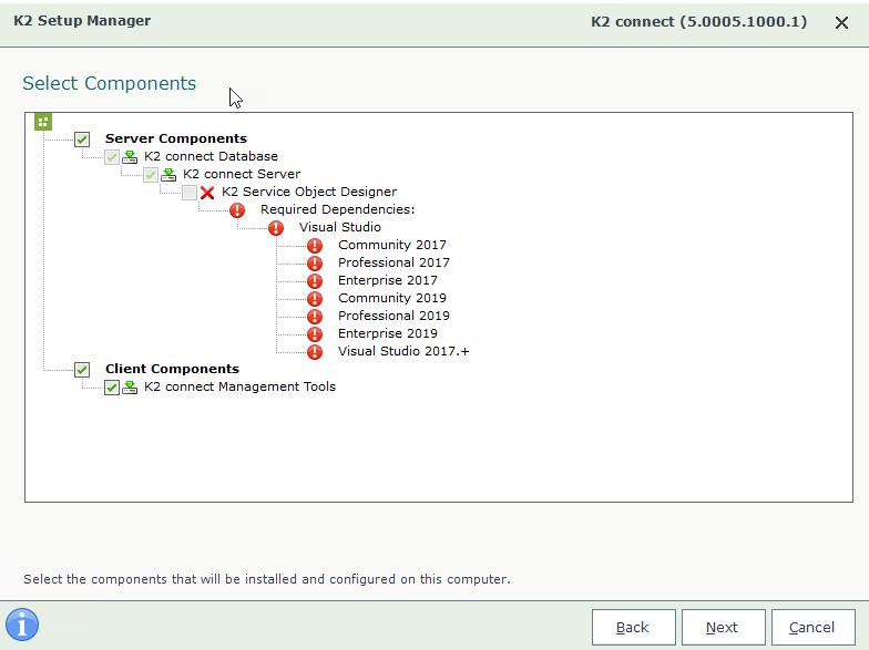 K2 Connect 5.2 Setup Wizard – Select Components Page when no Supported Version of Visual Studio found